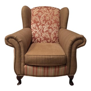 Stoneleigh Ltd. Terra Cotta Wingback Chair With Nailhead Trim
