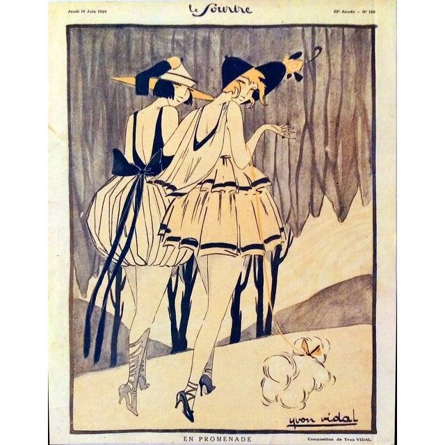 "Original 1920 ""En Promenade"" Fashion Print - Image 2 of 9"