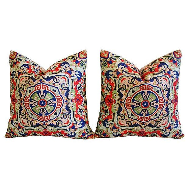 Asian Floral Medallion Linen Pillows - Pair - Image 7 of 7