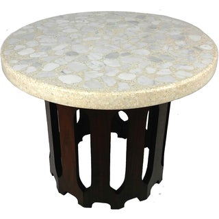 Harvey Probber Vintage Mid-Century Modern Terrazzo & Walnut Side Table