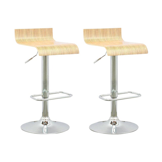 Contemporary Adjustable Bar Stool - A Pair - Image 1 of 3