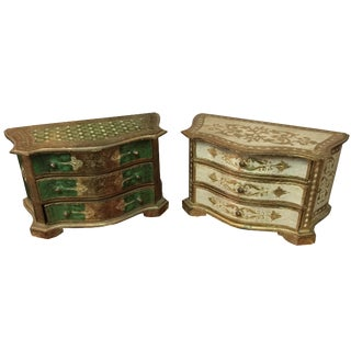 Florentine Italian Jewelry Boxes - A Pair