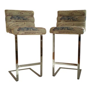 Pace Collection Chrome Bar Stools - a Pair