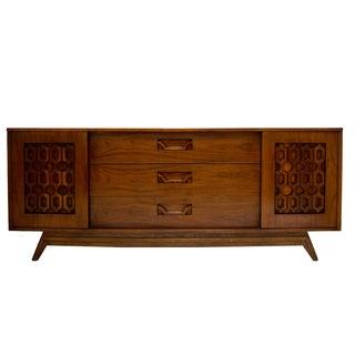 Carved Walnut Mid-Century Dresser or Credenza
