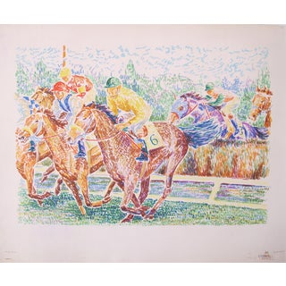 1960s French Horse Race, Lithograph