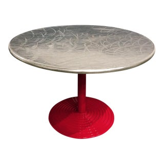1960s Red Aluminum Based Round Stainless Steel Cafe Table