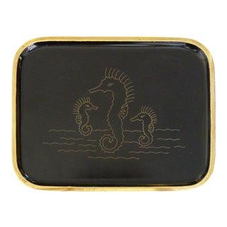 "Mid-Century ""Seahorse"" Brass Tray by Hagenauer"
