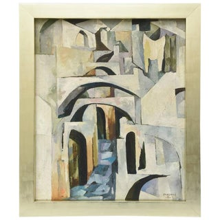"Modernist Cubist Mid-Century Painting Entitled ""Capri"""