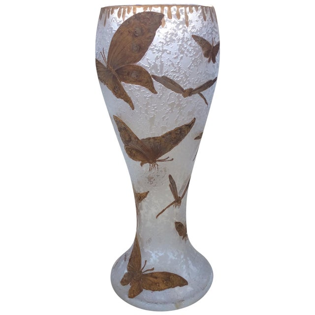 Legras Butterfly & Dragonfly Glass Vase - Image 1 of 6