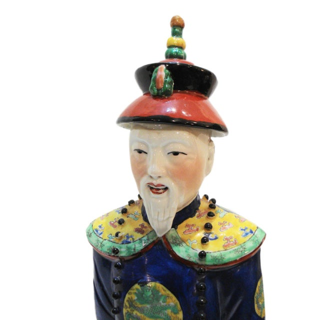 Image of Chinese Hand Painted Cobalt Blue Porcelain Figure of an Official