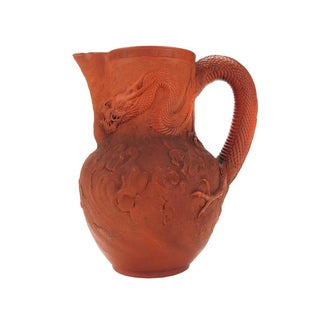 Antique Japanese Terracotta Dragon Motif Pitcher