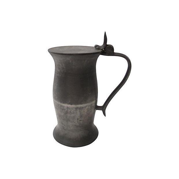 Image of Antique English Polished Pewter Tankard
