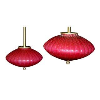 Pendant Murano Lamps in Raspberry