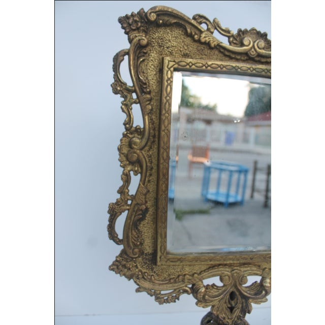 Antique French Ornate Gilt Metal Table Mirror - Image 8 of 11