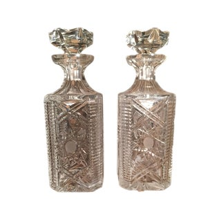 Hand Cut Crystal Decanters - A Pair