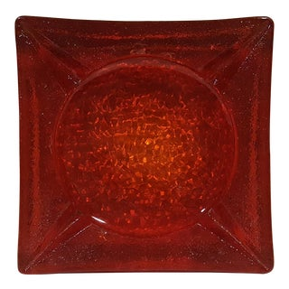 Ruby Red Mid-Century Glass Ashtray