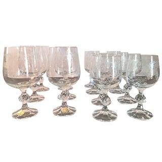 Vintage Bohemia Crystal Claudia Cascade Wine Glasses - Set of 14