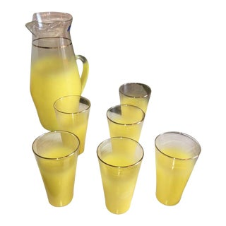 Vintage West Virginia Glass Specialty Co. Seven-Piece Yellow Beverage Set