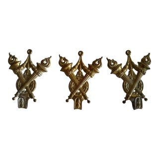 19th Century Antique French Brass Hooks - Set of 3