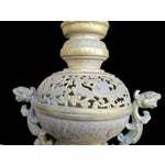 Image of Chinese Metal Golden Double Dragon Incense Burner