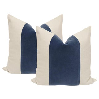 "22"" Prussian Blue Velvet Panel & Linen Pillows - a Pair"