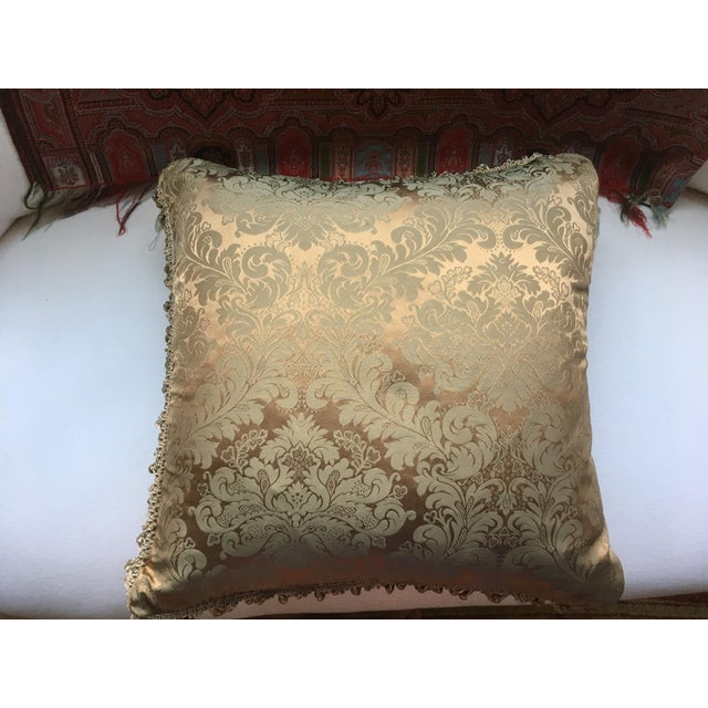 French Antique Silk Damask Pillow - Image 11 of 11