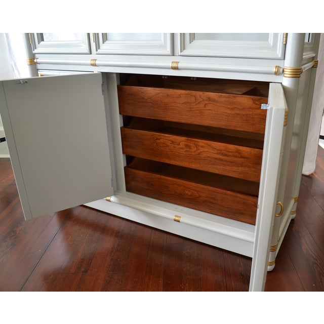 Gray Faux Bamboo Drexel Cabinet W/Gold Accents - Image 5 of 8