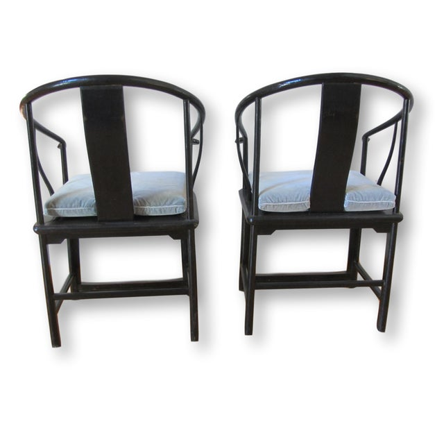 Large Antique Chinese Horse Shoe Back Chairs - 2 - Image 4 of 10