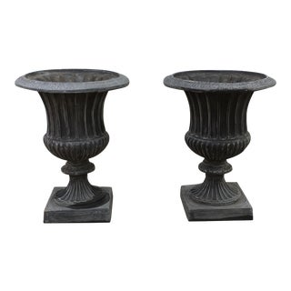Classic Ribbed Urn Planters - A Pair
