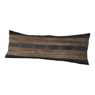 Yao Hill Tribe Khaki Silk Textile Pillow