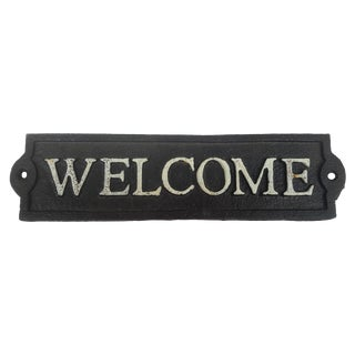 """Cast Iron Hand Painted """"Welcome"""" Sign"""