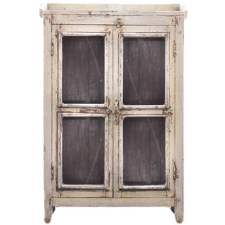 Navajo White Wooden Cabinet With Mesh Panels