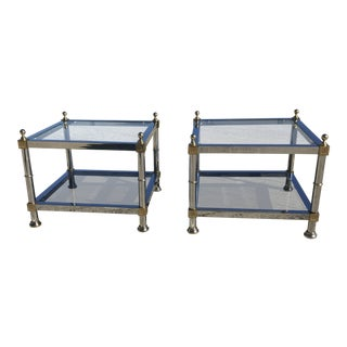 Maison Jansen Chrome Brass Square End Tables - A Pair