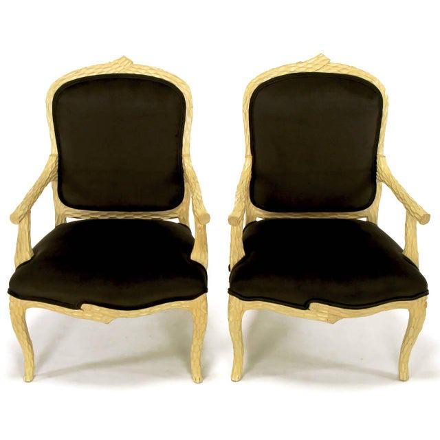 Image of Pair of Faux Bois and Velvet Louis XV Style Fauteuils