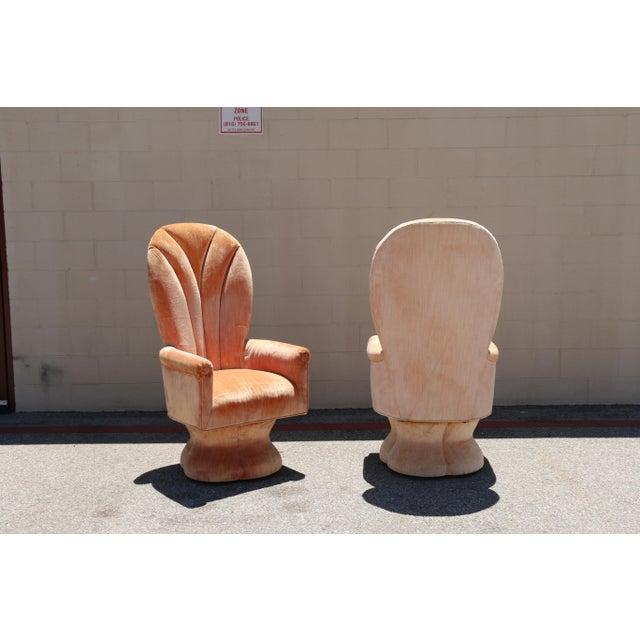 Velvet Highback Swivel Chairs - A Pair - Image 8 of 10