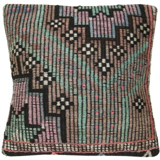 Rug and Relic Pastel on Black Kilim Pillow