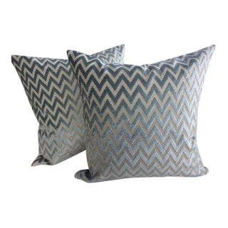 "Lee Jofa ""Kila"" Cut Velvet Chevron Design in Aqua Marine Pillows - a Pair"