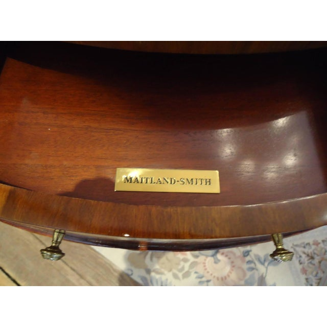 Image of Maitland-Smith Mahogany & Leather Side Table
