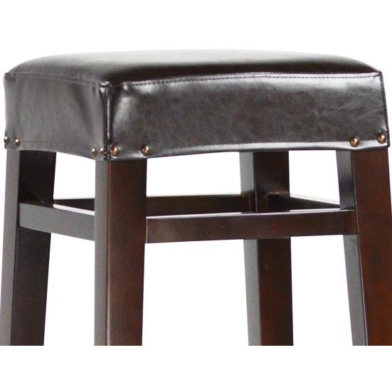 Image of Dark Wood & Leather Bar Stool