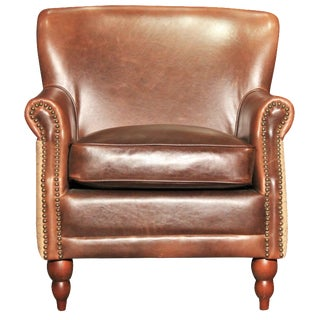Leather & Burlap Script Chair