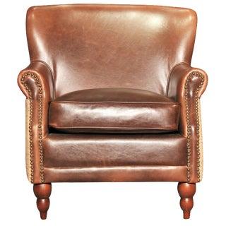 Leather & Burlap Script Chair