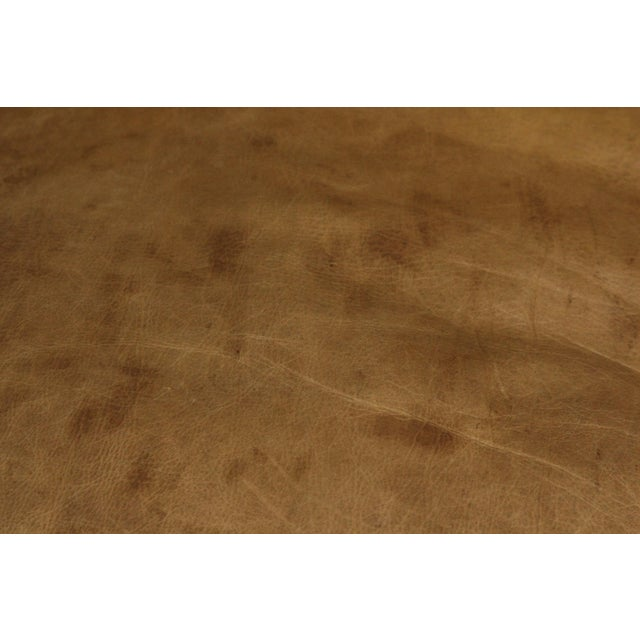 Large Vintage French Camelback Leather Couch - Image 6 of 9