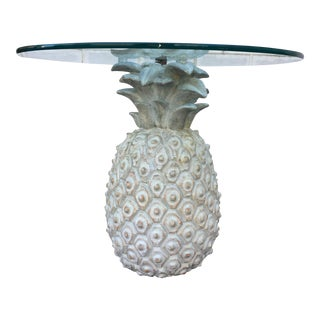 Vintage Glass Top & Wood Pineapple Base Occasional Table