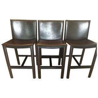 RH Brown Leather Counter Stools - Set of 3