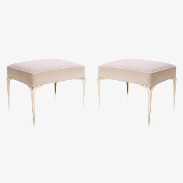 Colette Brass Ottomans in Nude Velvet by Montage, Pair - Image 3 of 7
