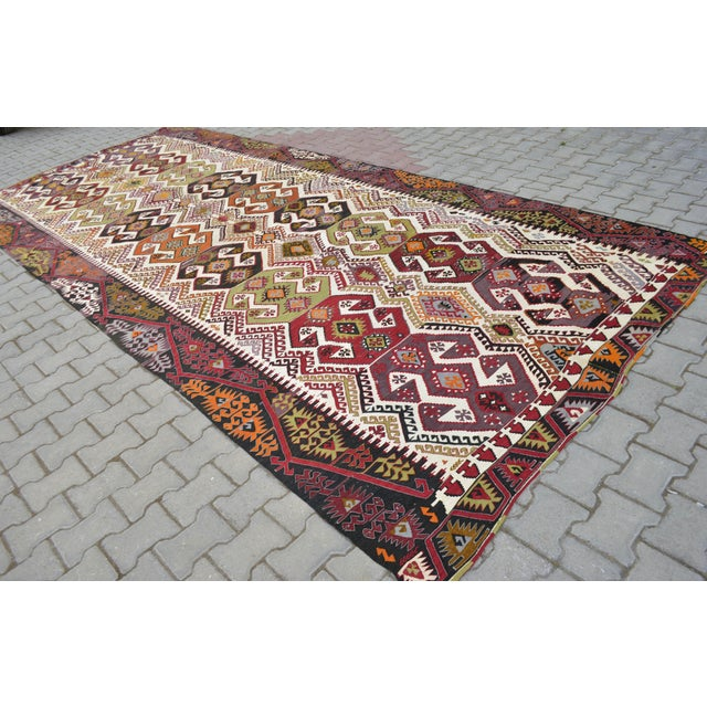 "Hand-Woven Turkish Kilim Rug - 7'2"" x 16'3"" - Image 4 of 11"
