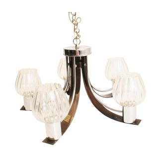 Vintage Smoked Lucite & Glass Hanging Light