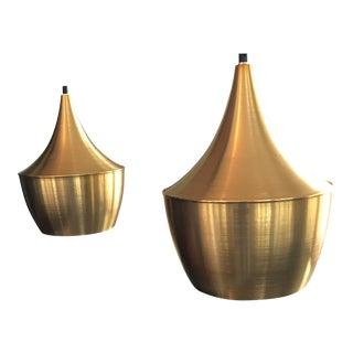 T. Dixon Brass Gold Beat Pendant Lights - A Pair