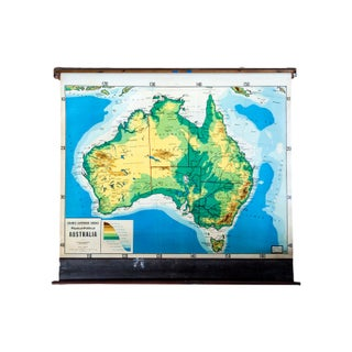 Vintage Cram's Pull Down Map of Australia
