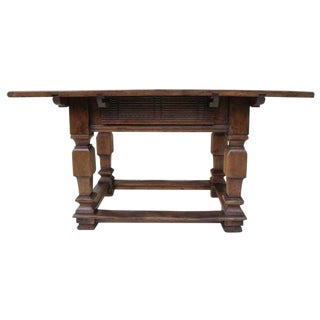 Italian Walnut Table with Center Drawer